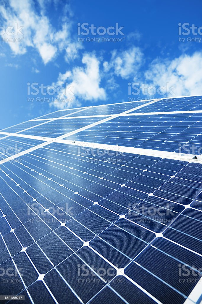 Solar Collectors Against Blue Sky royalty-free stock photo