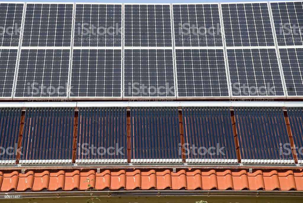 Solar Collectors and heating panels royalty-free stock photo