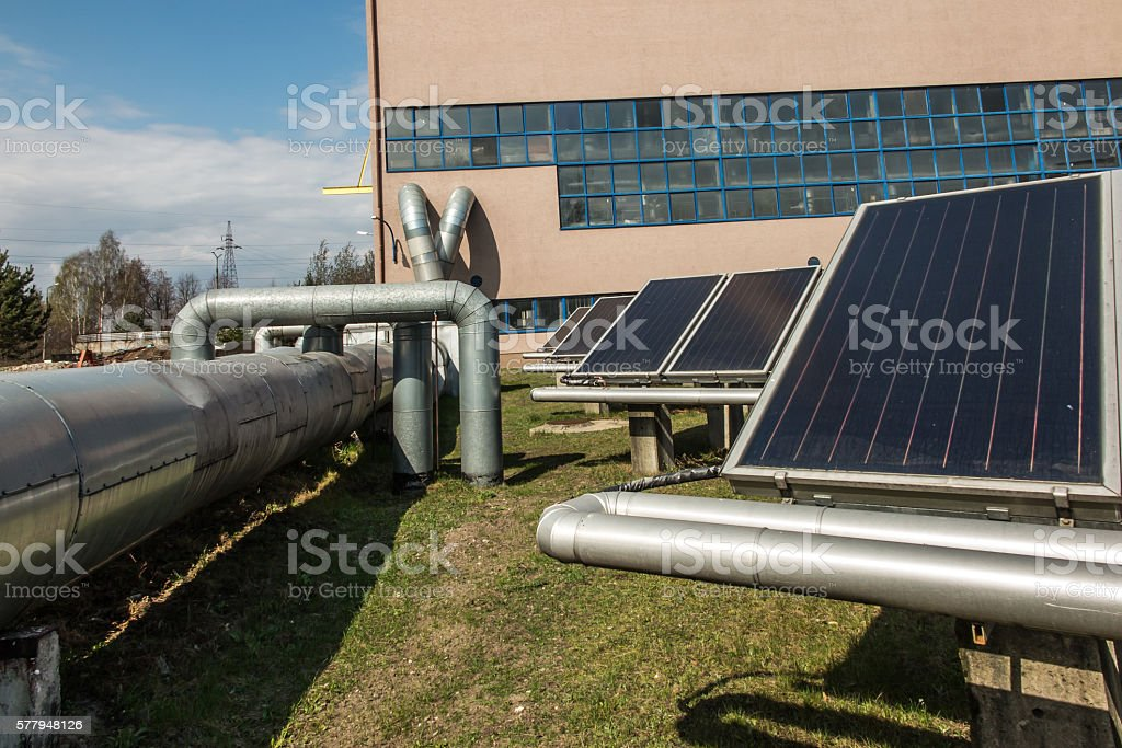 solar collectors in the heat stock photo