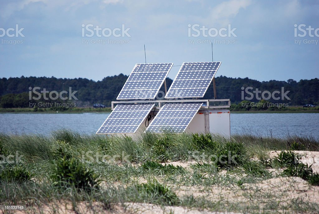Solar Collectors on Assateague Island stock photo