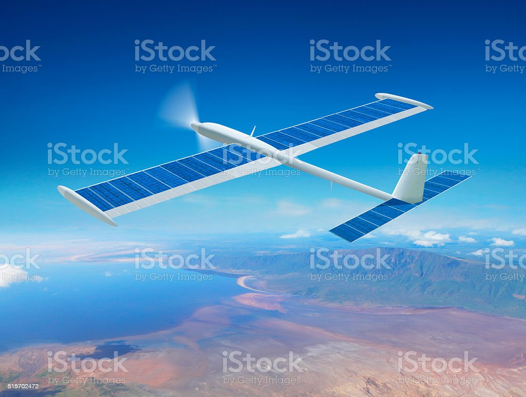 Solar drone airplane stock photo