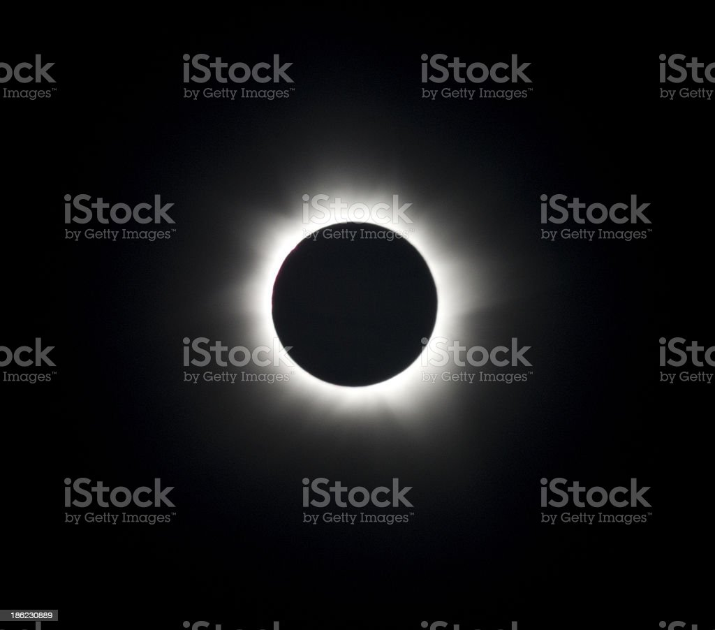 Solar eclipse on a black background stock photo