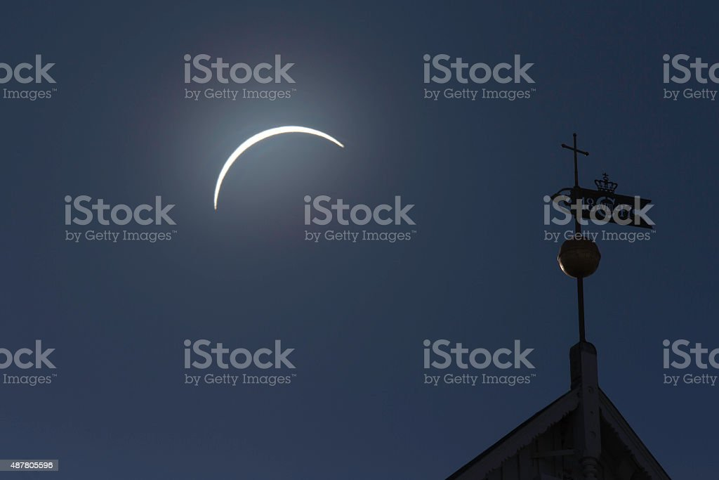 Solar ecllipse ower old church tower built 1847 stock photo
