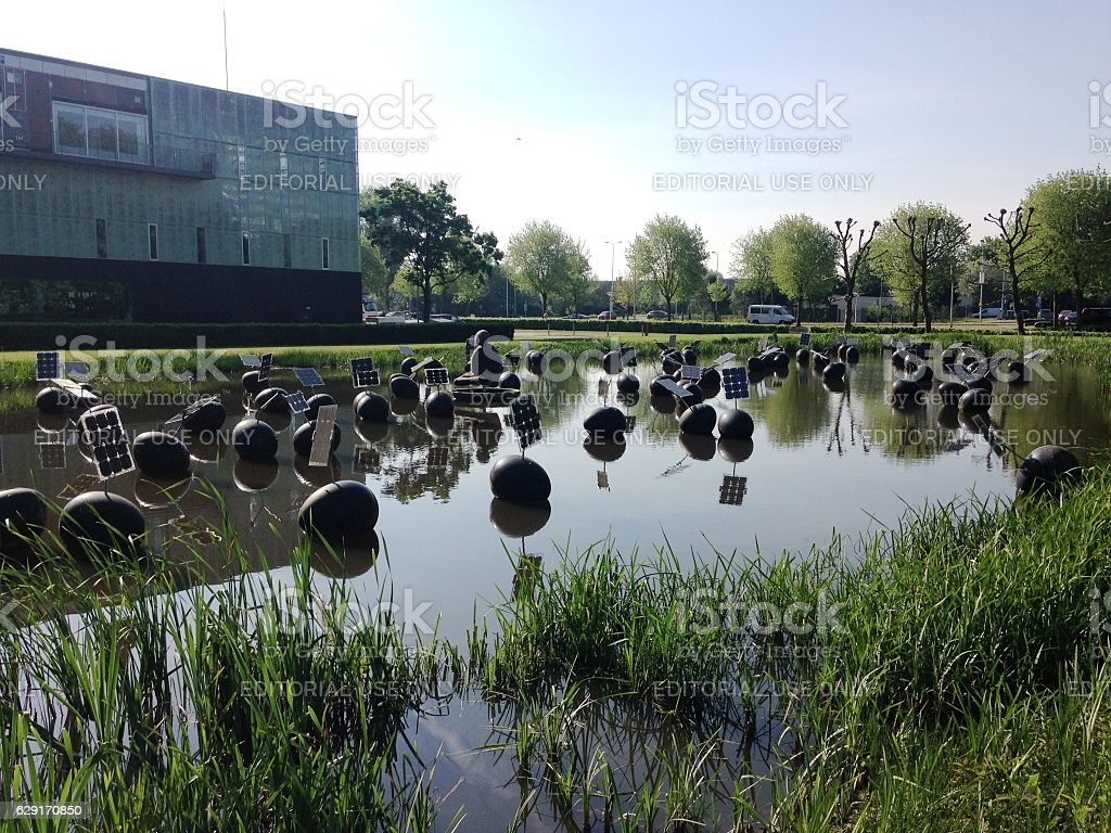 Solar eggs panels on the water stock photo