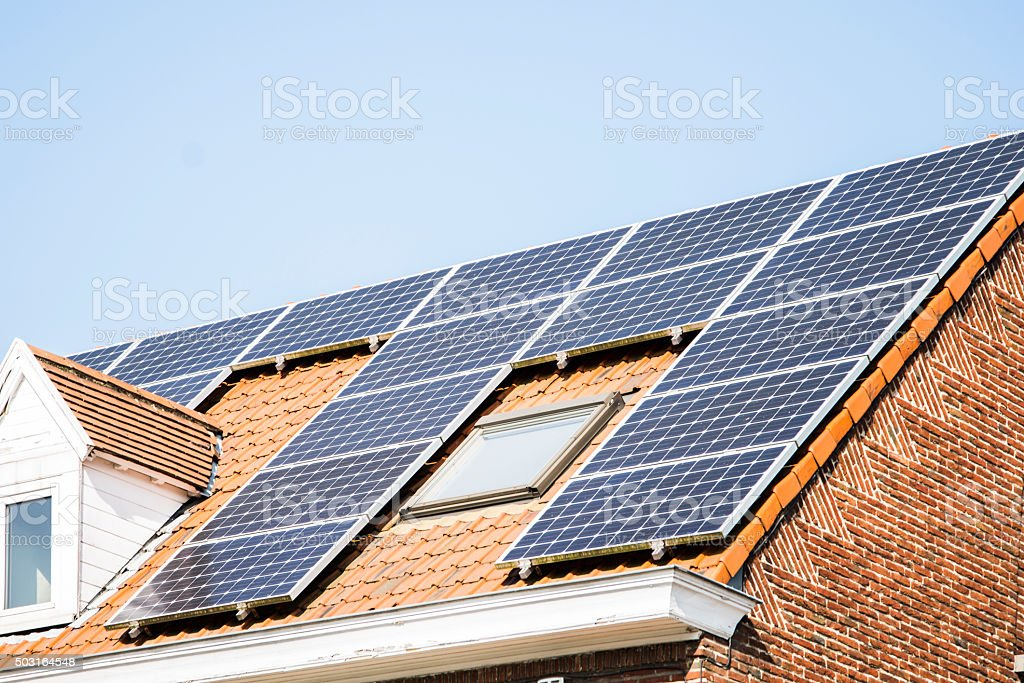 Solar energy at home stock photo