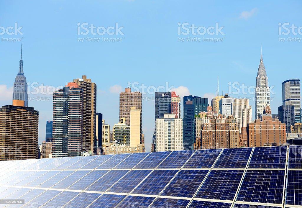 Solar Energy Concept, NYC. stock photo