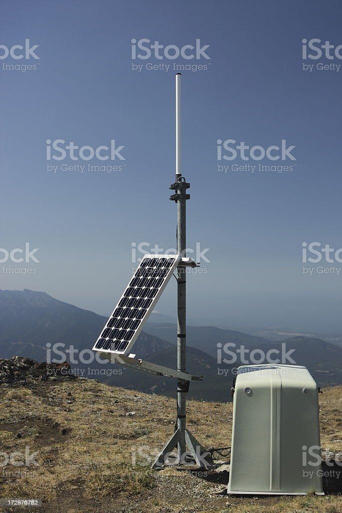Solar Energy Dish Power Station Earthquake Monitor stock photo