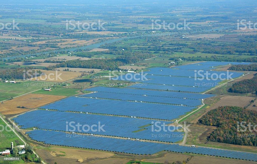 Solar energy field, Ontario stock photo