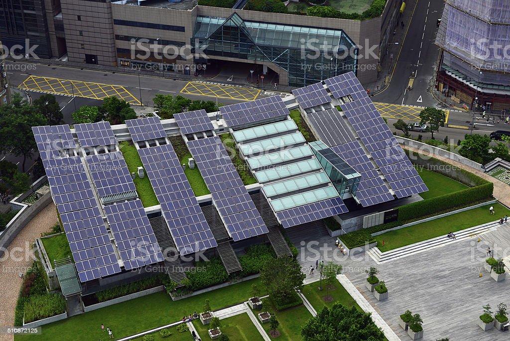 Solar energy in the city stock photo
