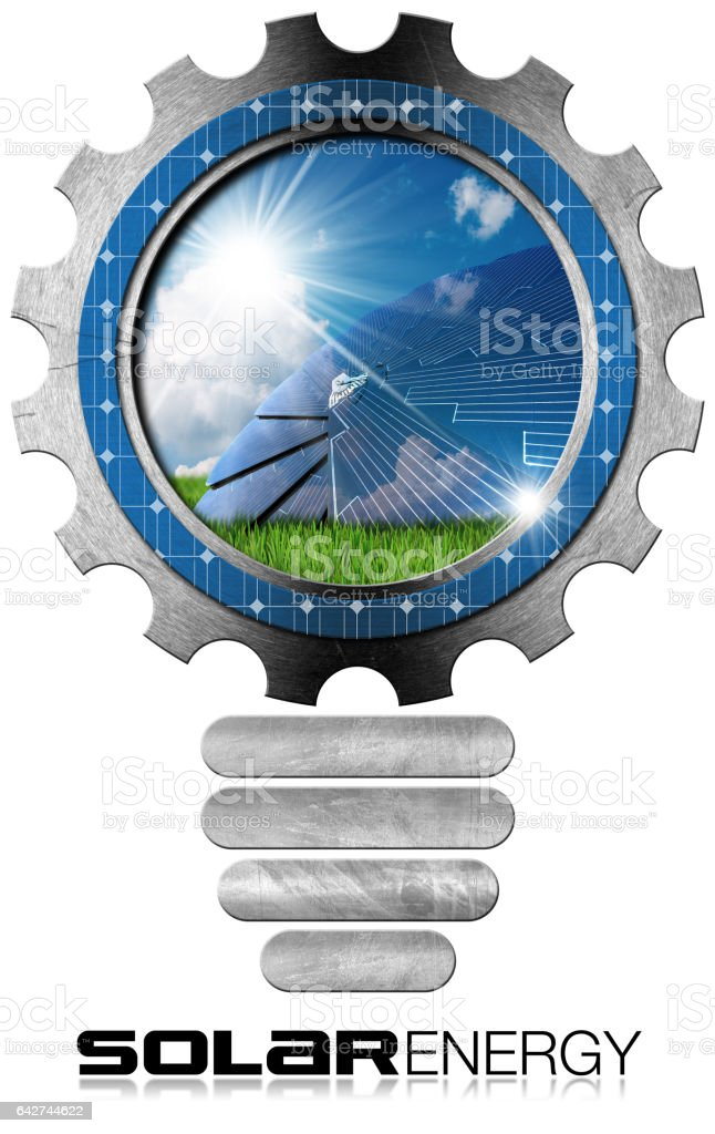 Solar Energy - Metal Bulb with Solar Panel stock photo