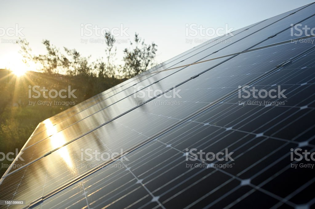 Solar Energy Panel with sun stock photo