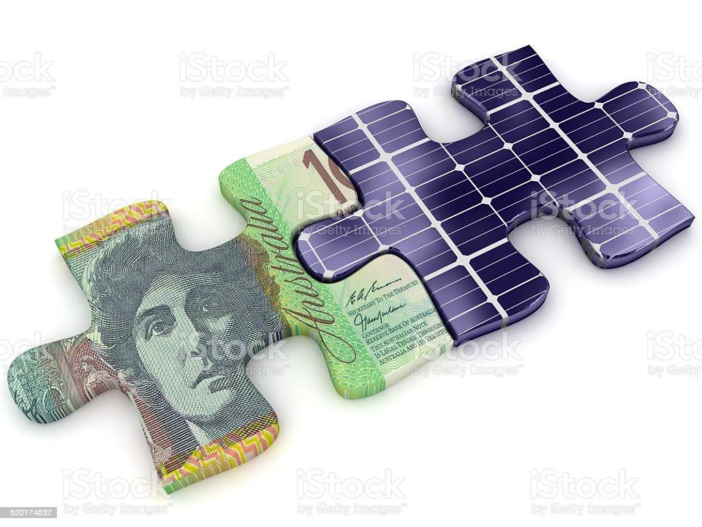 Solar energy panels money savings puzzle concept stock photo