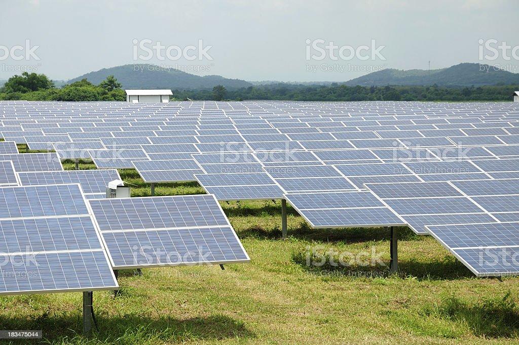 Solar energy panels on a big field royalty-free stock photo