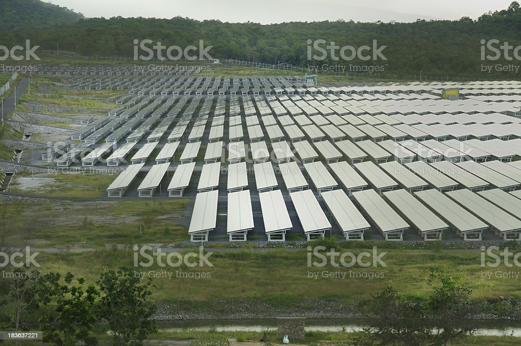 Solar energy panels on a big field royalty-free stock photo