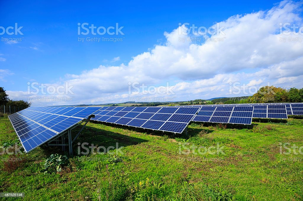 solar energy: photovoltaic panels stock photo