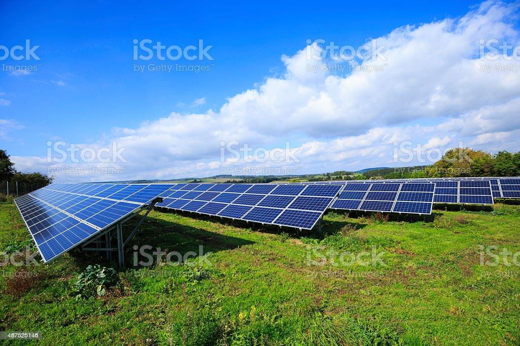 solar energy: photovoltaic panels stock photo