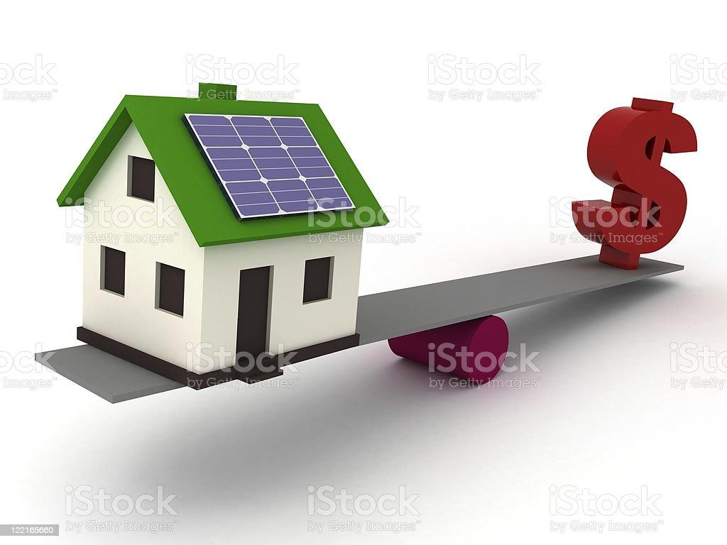 Solar energy saving smart house royalty-free stock photo