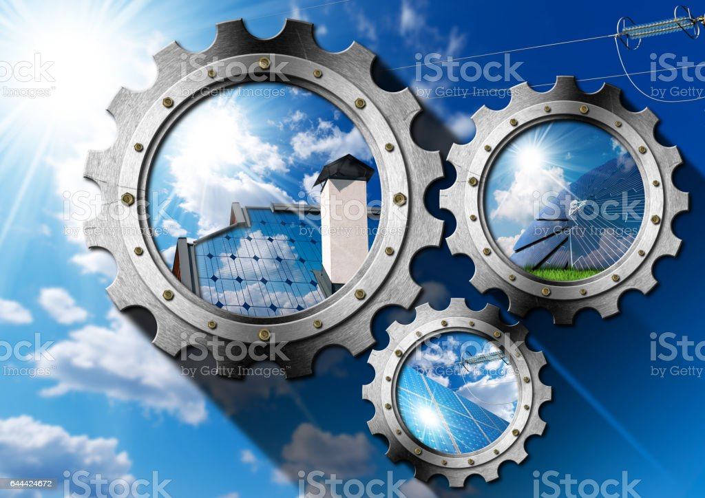 Solar Energy - Three Metal Gears stock photo