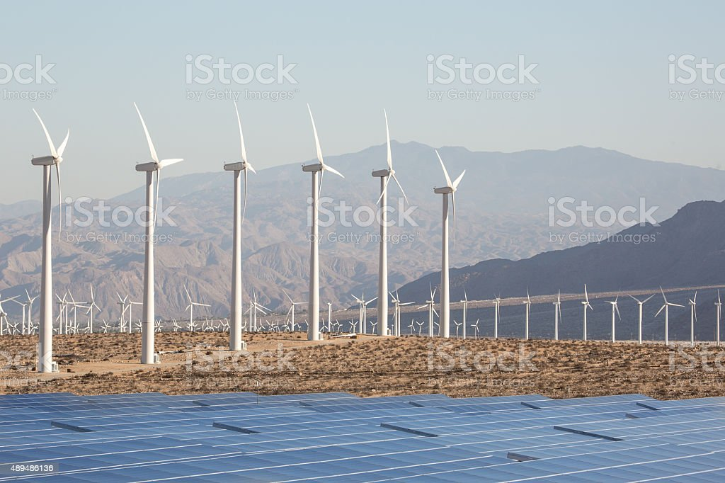 Solar Energy Windmills and Solar Panels in California stock photo