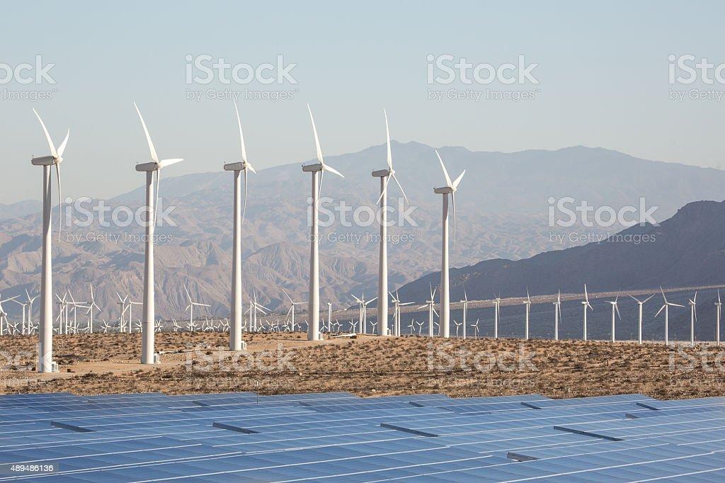 Solar Energy Windmills and Solar Panels in California stock photo