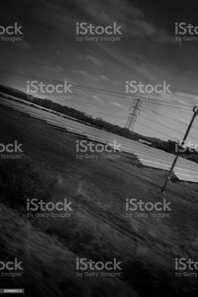 Solar Farm in the British countryside stock photo