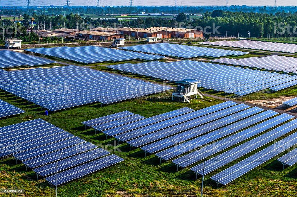 Solar farm, solar panels aerial view stock photo
