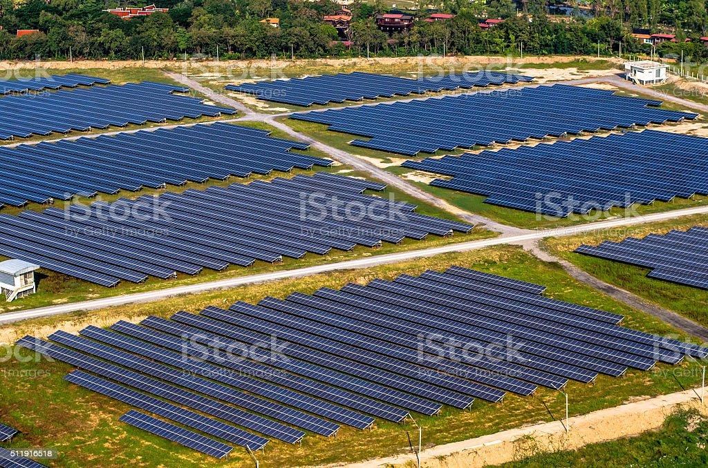Solar farm, solar panels from the air stock photo
