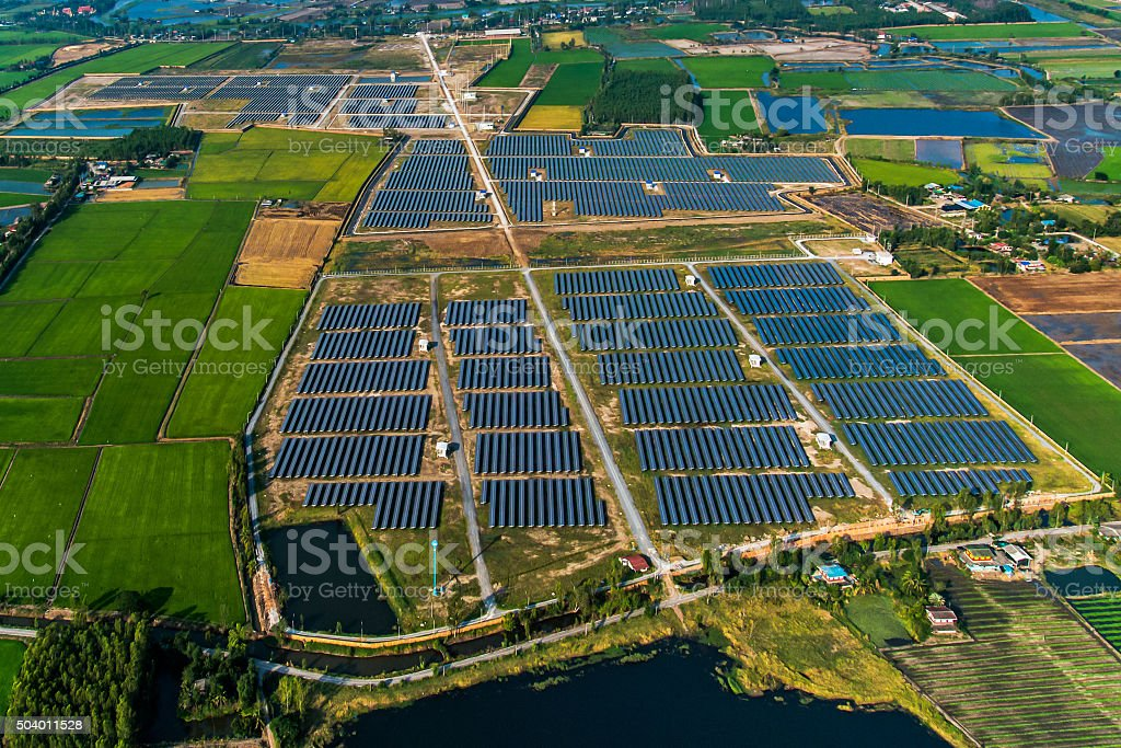 Solar farm solar panels stock photo