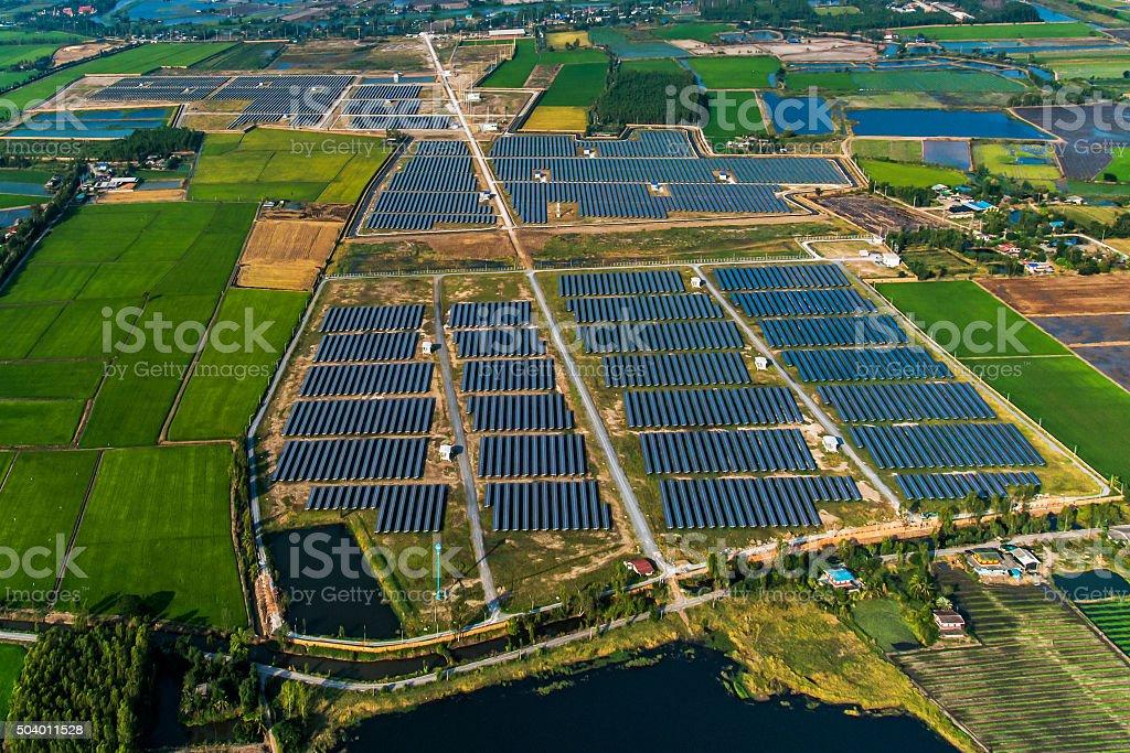 Solar farm solar panels stock photo