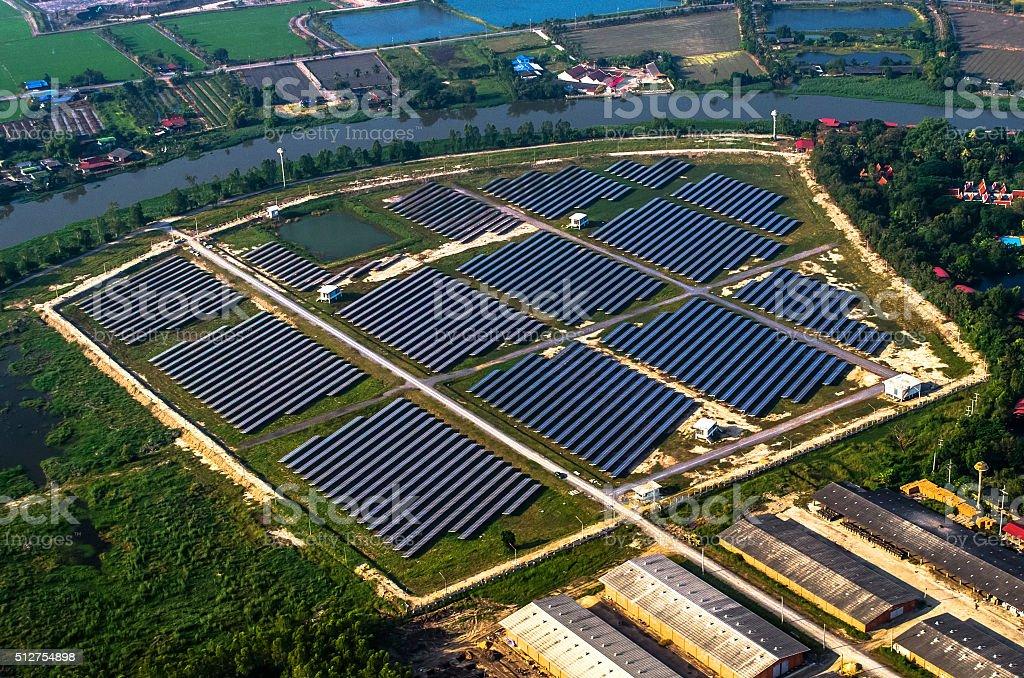 Solar farm, solar panels stock photo