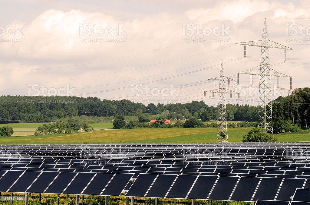 Solar Farm with Power Poles stock photo