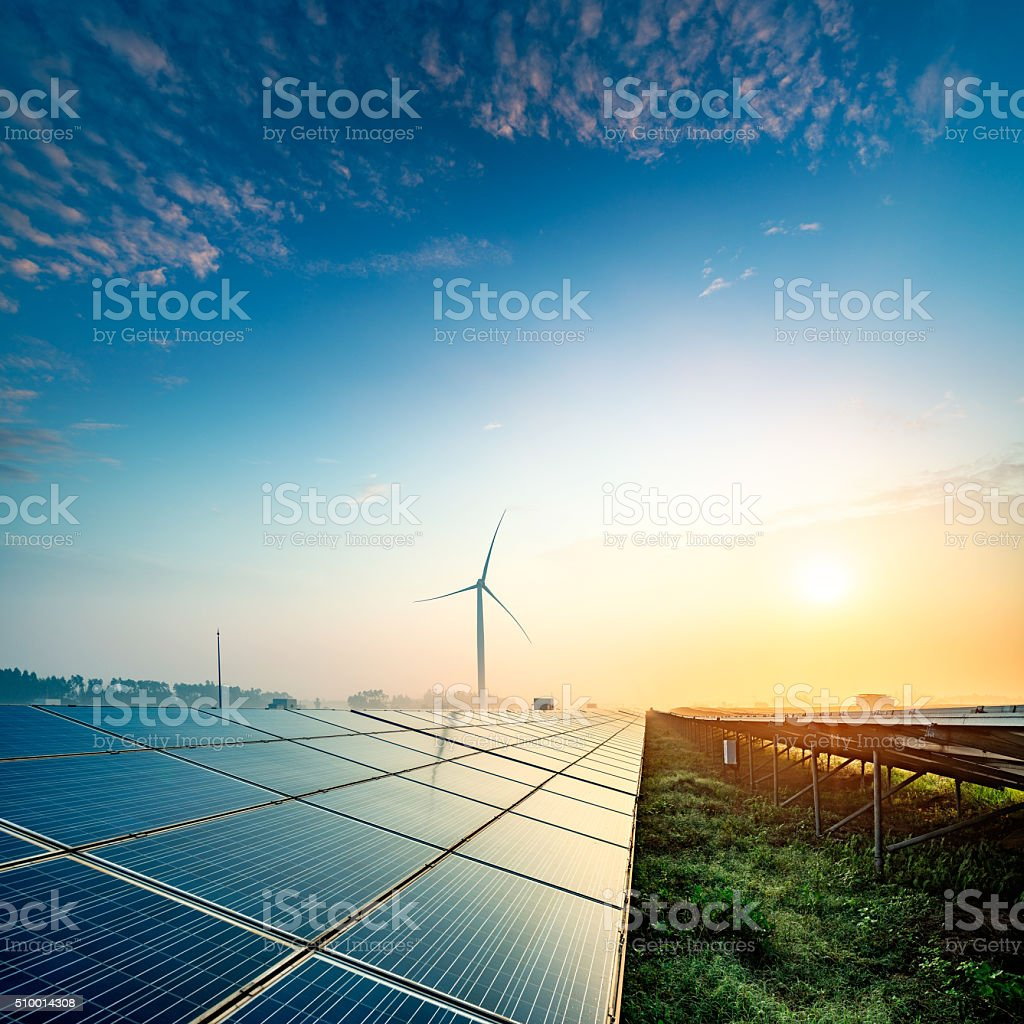 Solar farms stock photo