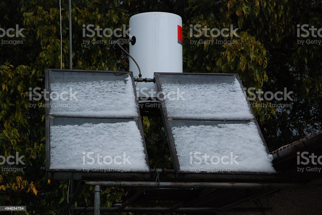 Solar heating in the winter stock photo