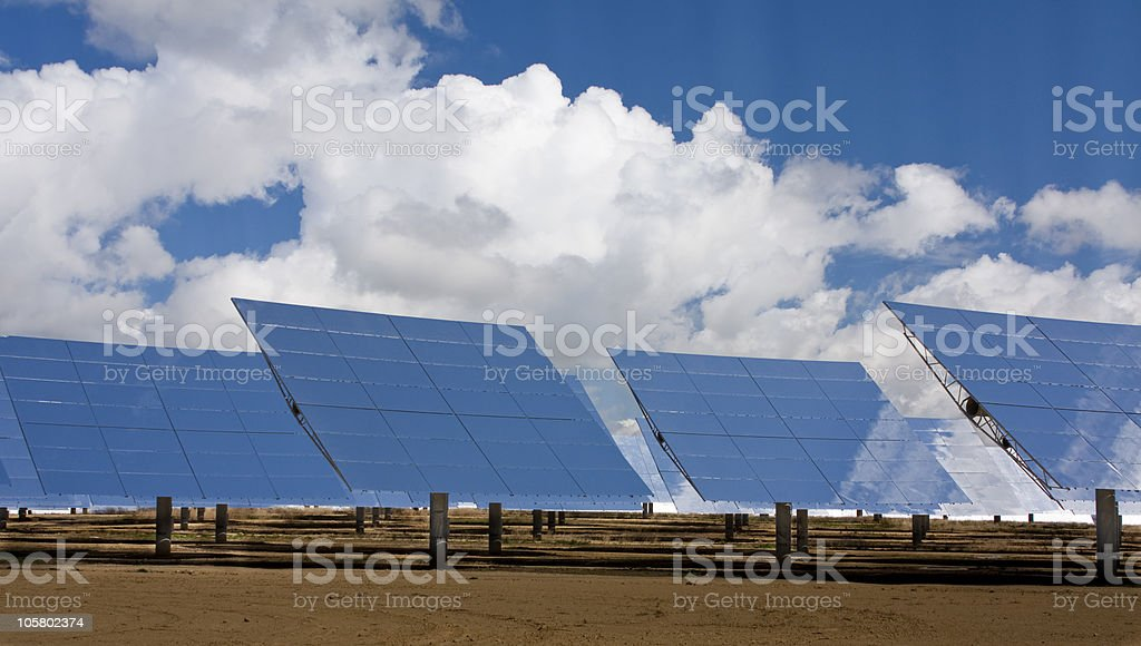 Solar heliostats stock photo