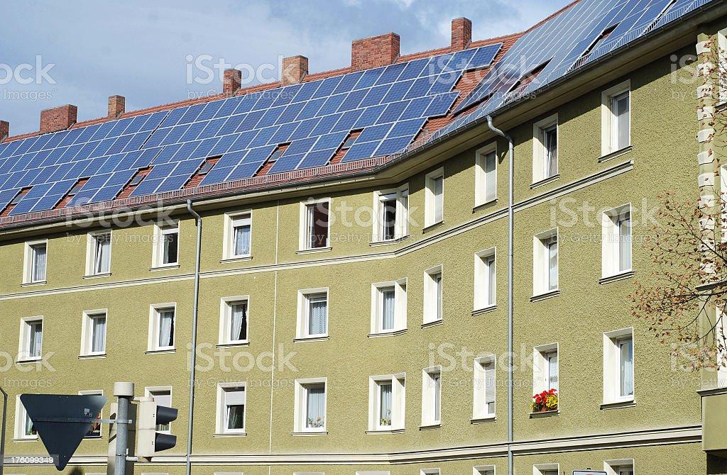 solar house condominium stock photo