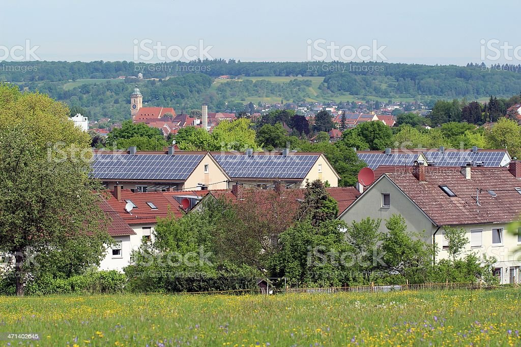 Solar house condominium stock photo
