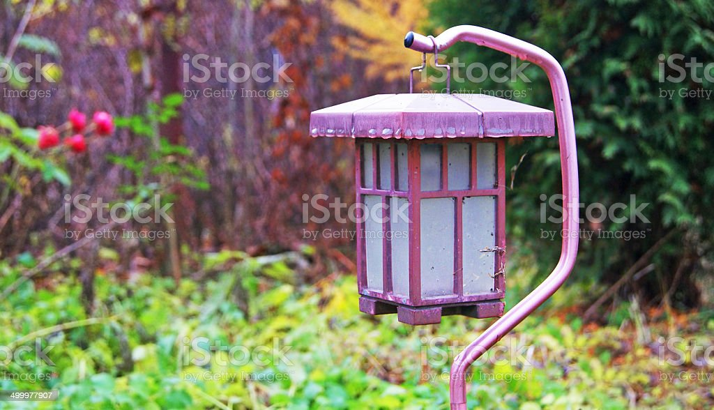 Solar Lantern in the Garden stock photo