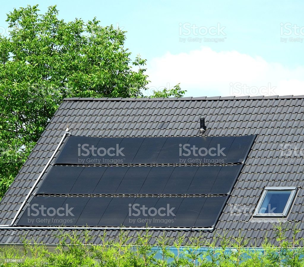 Solar mats on roof royalty-free stock photo