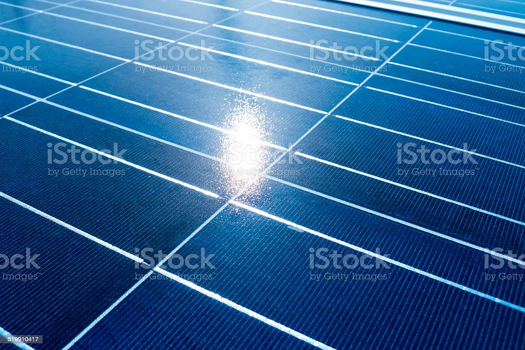 Solar mirrors and sunbeam. stock photo