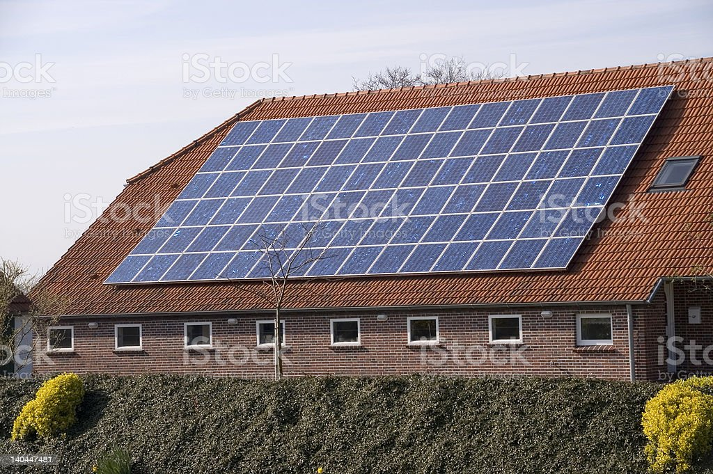 solar on the roof royalty-free stock photo