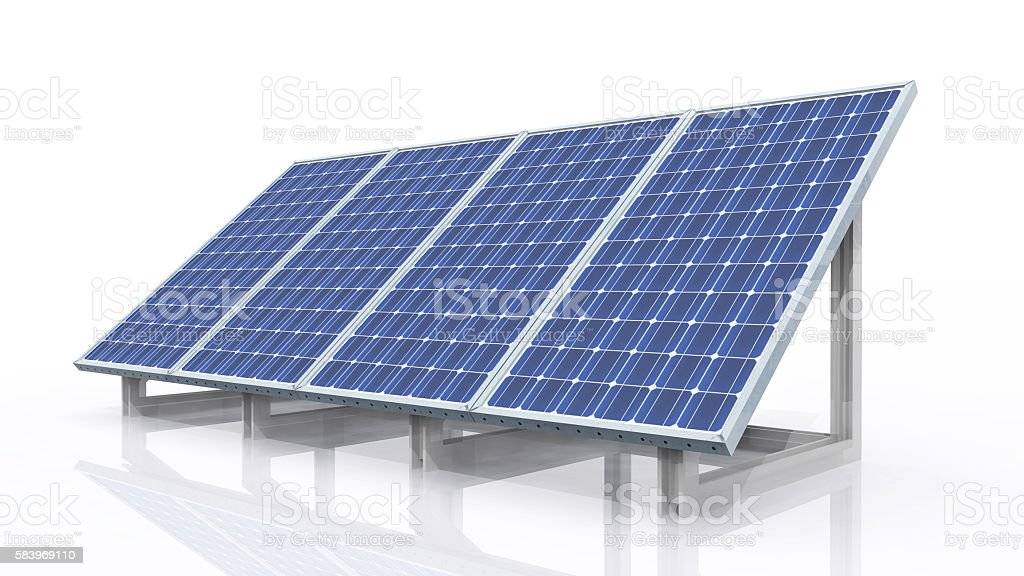 Solar panel against a white background stock photo