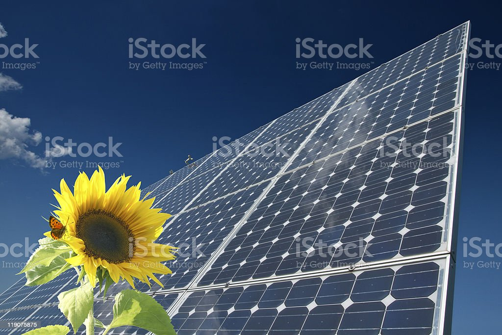 Solar panel against blue sky and sunflower in foreground stock photo
