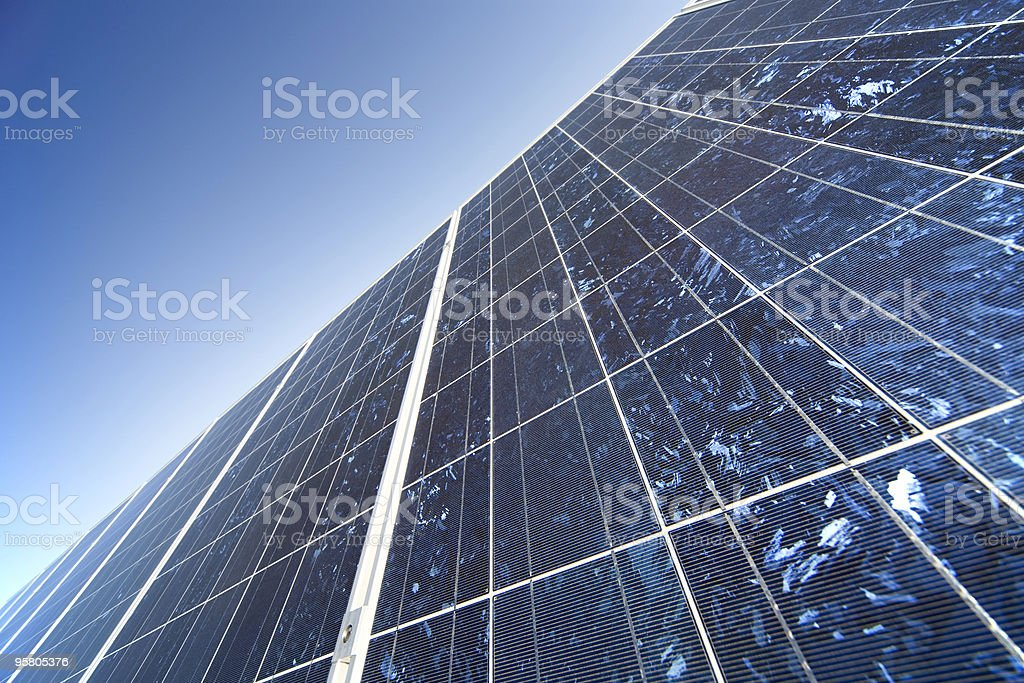 solar panel against clear blue sky XL royalty-free stock photo