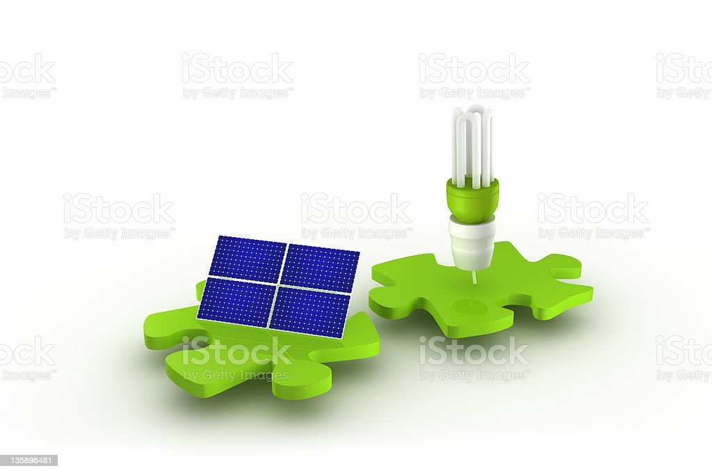 Solar panel and light bulb connect royalty-free stock photo