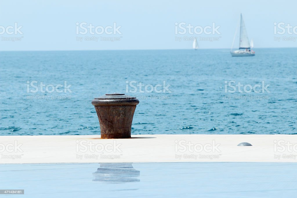 solar panel and mediterranean ocean sailing ships royalty-free stock photo