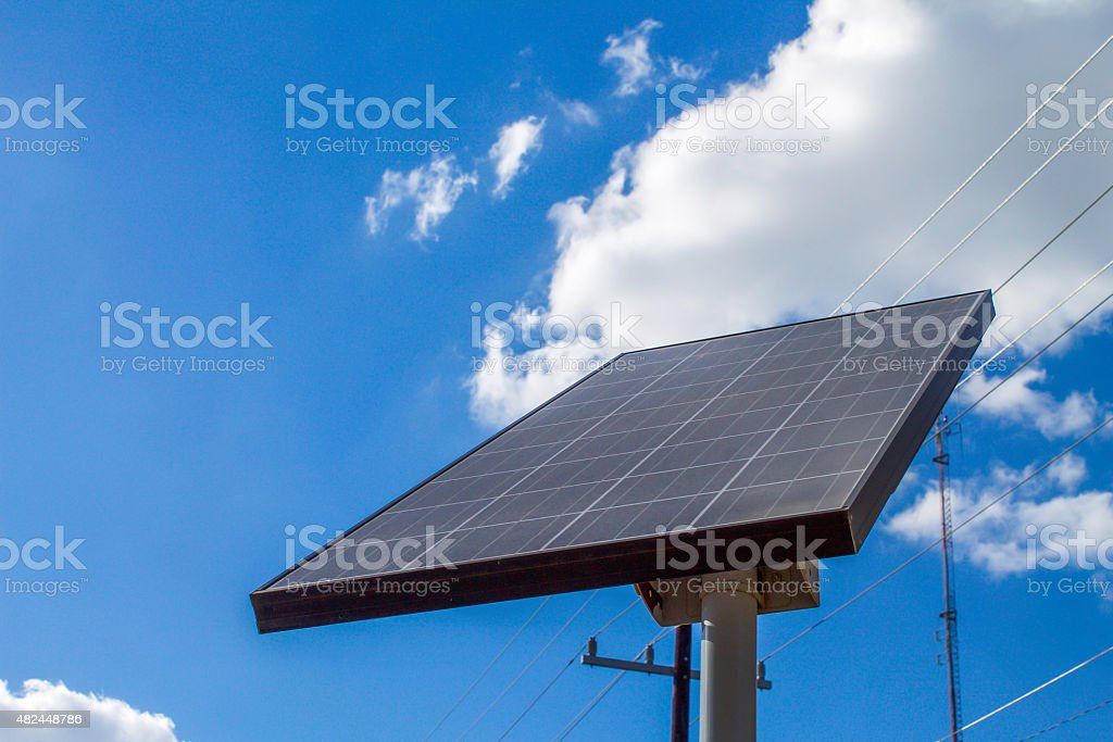 Solar Panel and Sky Front View Close Up stock photo