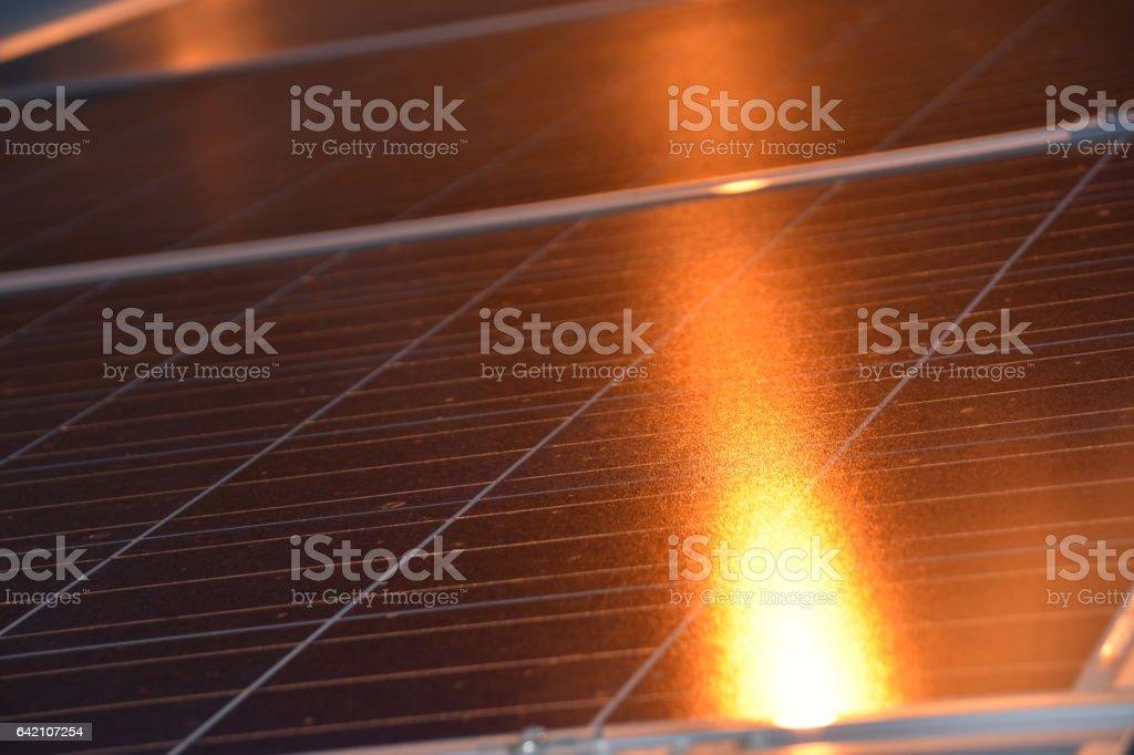 Solar panel AT NIGHT stock photo