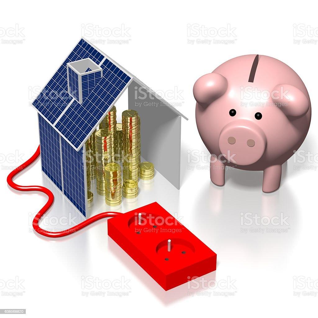 3D solar panel concept stock photo