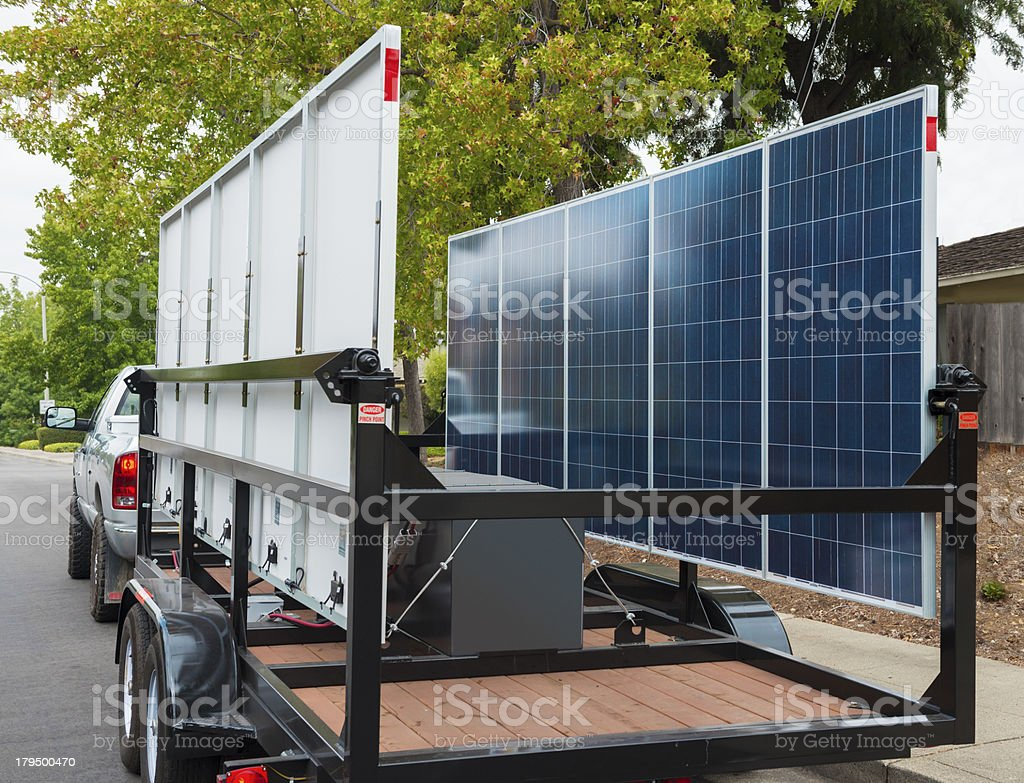 Solar Panel Delivery Truck stock photo