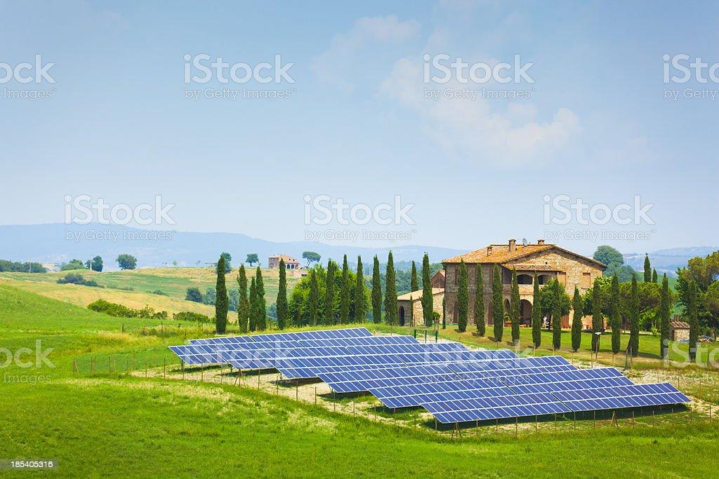 Solar panel field in Tuscany royalty-free stock photo